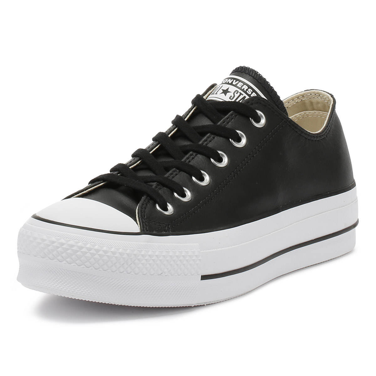 Details about Converse Chuck Taylor All Star Womens Ox Trainers Black Lift Clean Casual Shoes