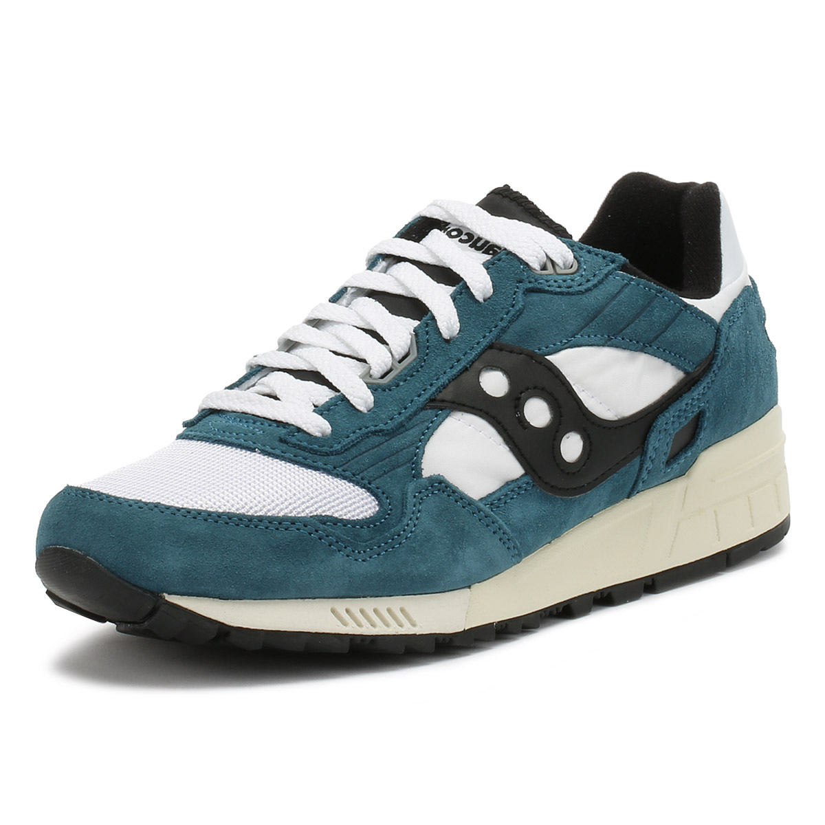 b56ae809aabf Details about Saucony Mens Trainers Teal   White Black Shadow 5000 Vintage  Sport Casual Shoes