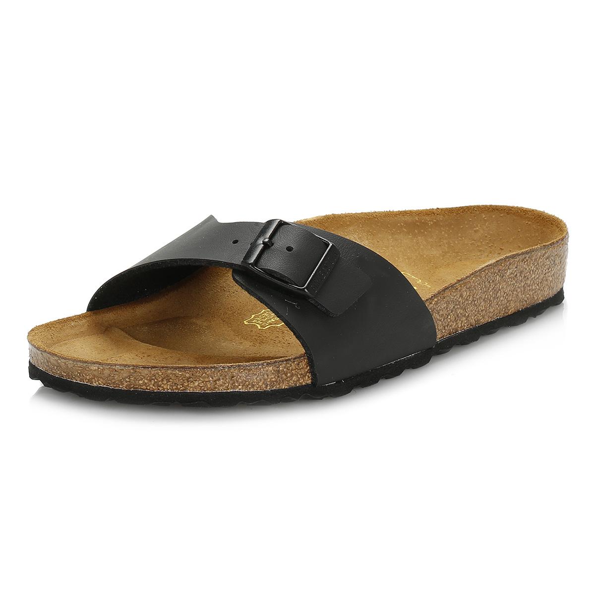 8540a0c870a37 Details about Birkenstock Womens Madrid Black Birko Flor Sandals Slip On  Ladies Summer Shoes