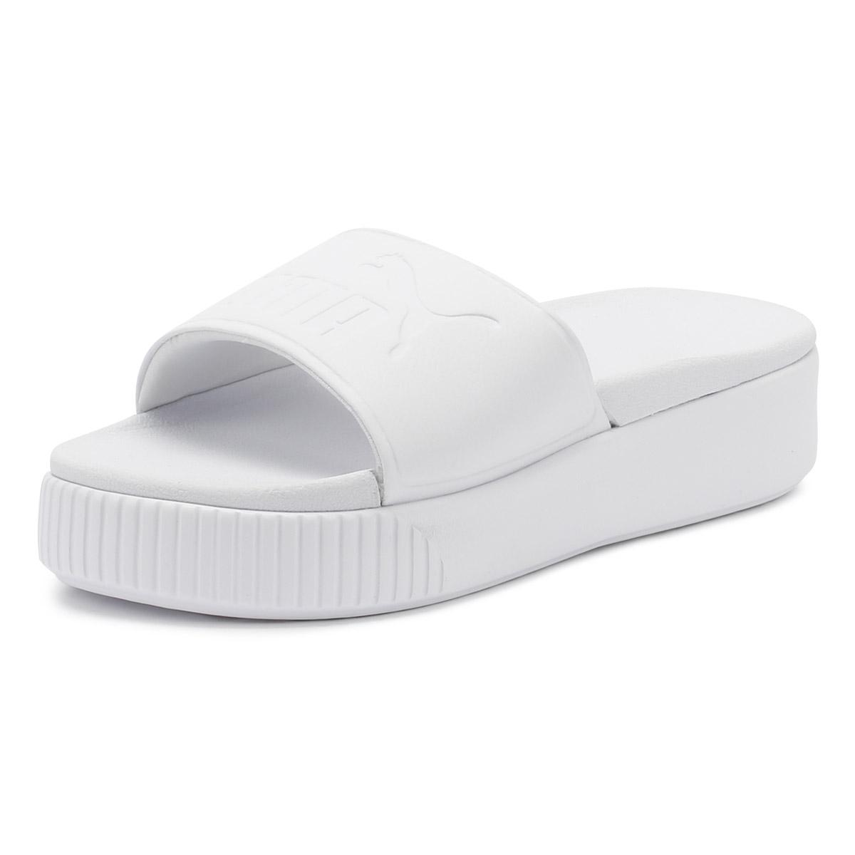 1ef3dd9e5f003e Details about PUMA Womens Platform Slides White Bold Ladies Summer Beach  Casual Sandals