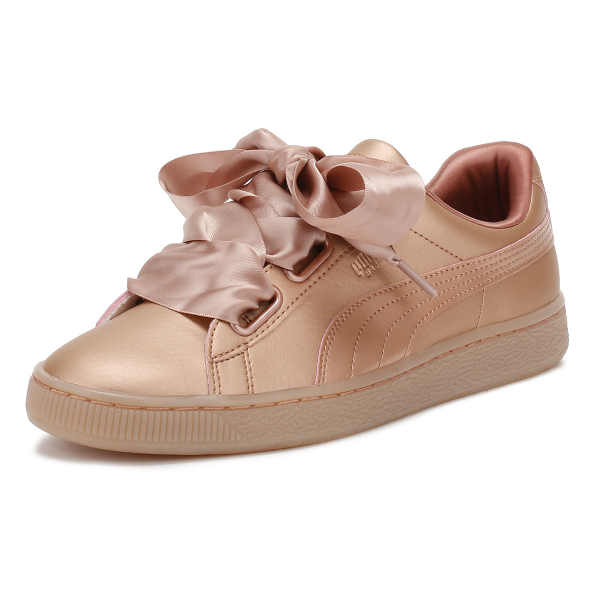 b0d37db30fc Details about PUMA Womens Copper Pink Trainers Basket Heart Patent Leather  Ladies Shoes