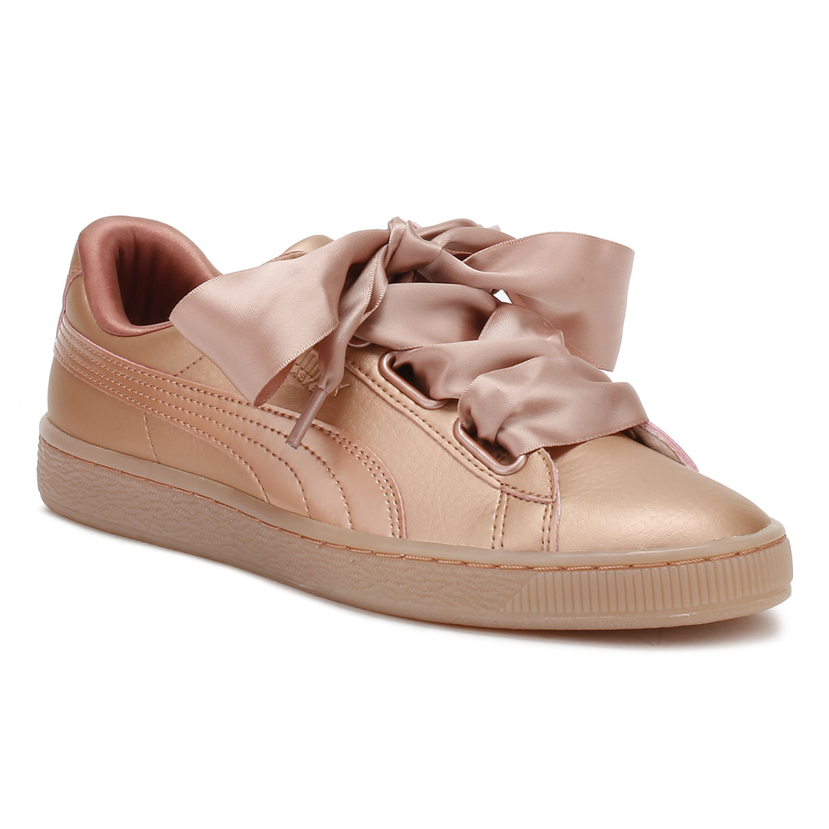 puma womens copper pink trainers basket heart patent leather ladies shoes ebay. Black Bedroom Furniture Sets. Home Design Ideas