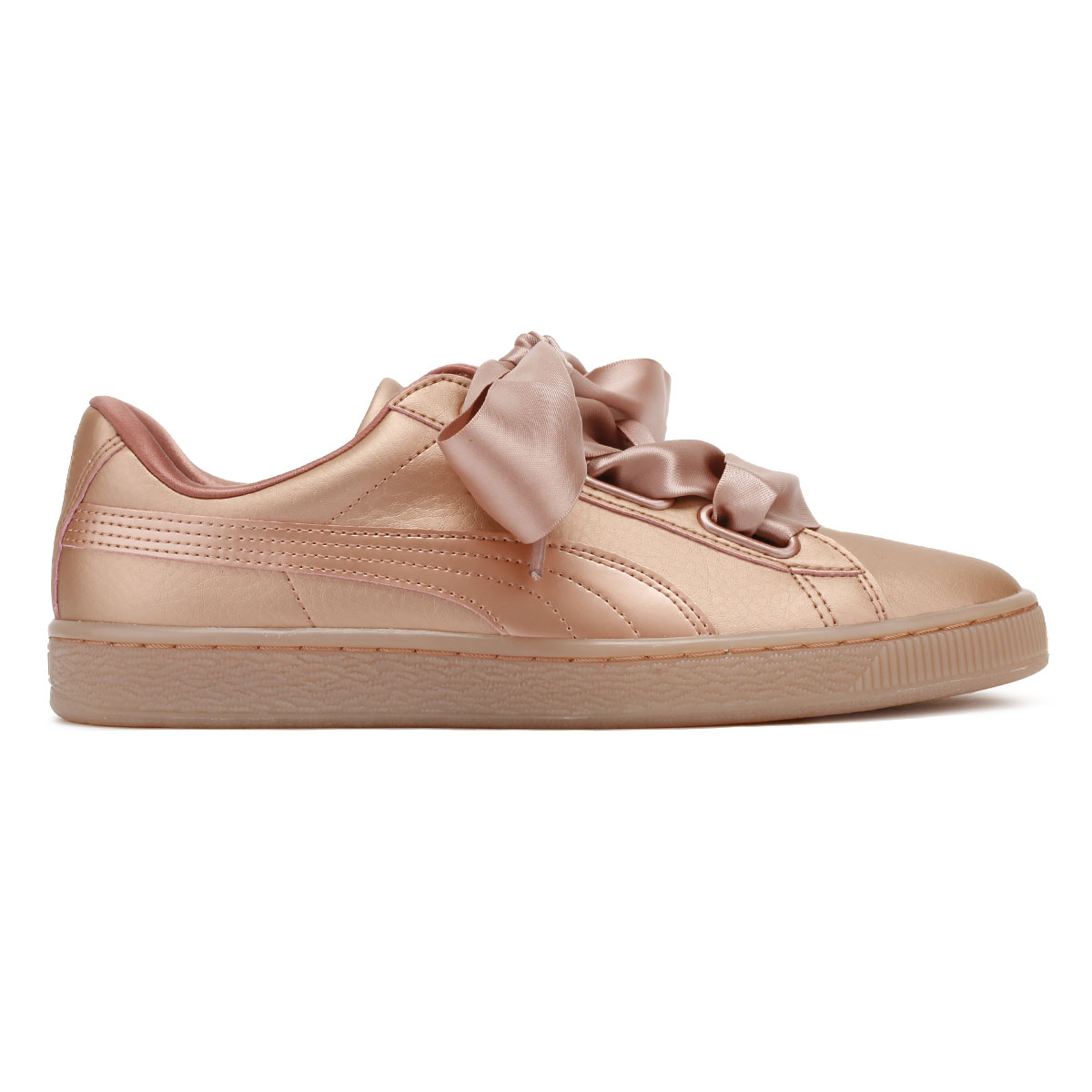 81c50f22850 PUMA Womens Copper Pink Trainers Basket Heart Patent Leather Ladies Shoes