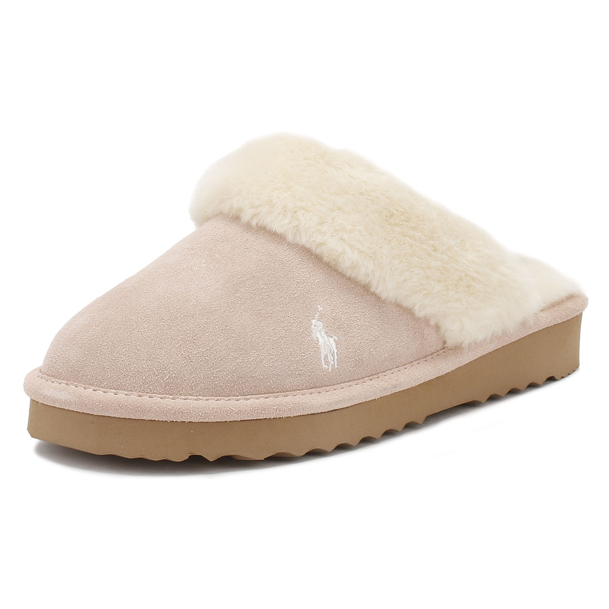 f8b8aff3143 Details about Ralph Lauren Womens Slippers Snuff Light Pink Cream Charlotte  Mules Home Shoes