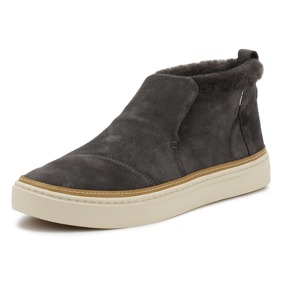 82fe4cb95ed Details about TOMS Womens Grey Suede Paxton Shoes Ladies Slip On Casual  Ankle Boots