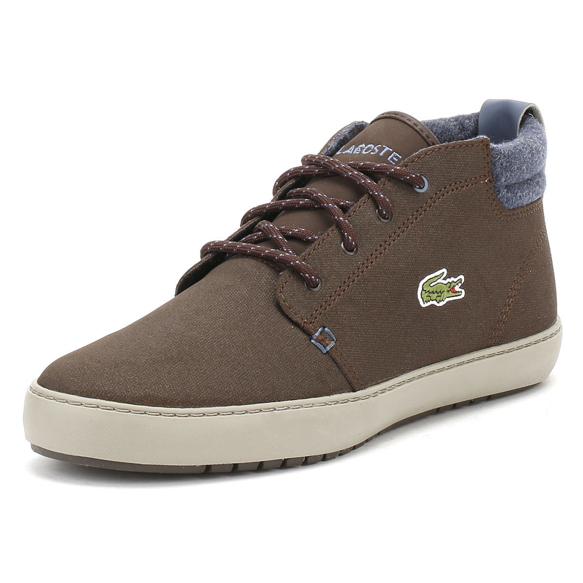 8f2a7a65d Details about Lacoste Mens Dark Brown Ankle Boots Ampthill Terra Leather  Trainers Winter Shoes