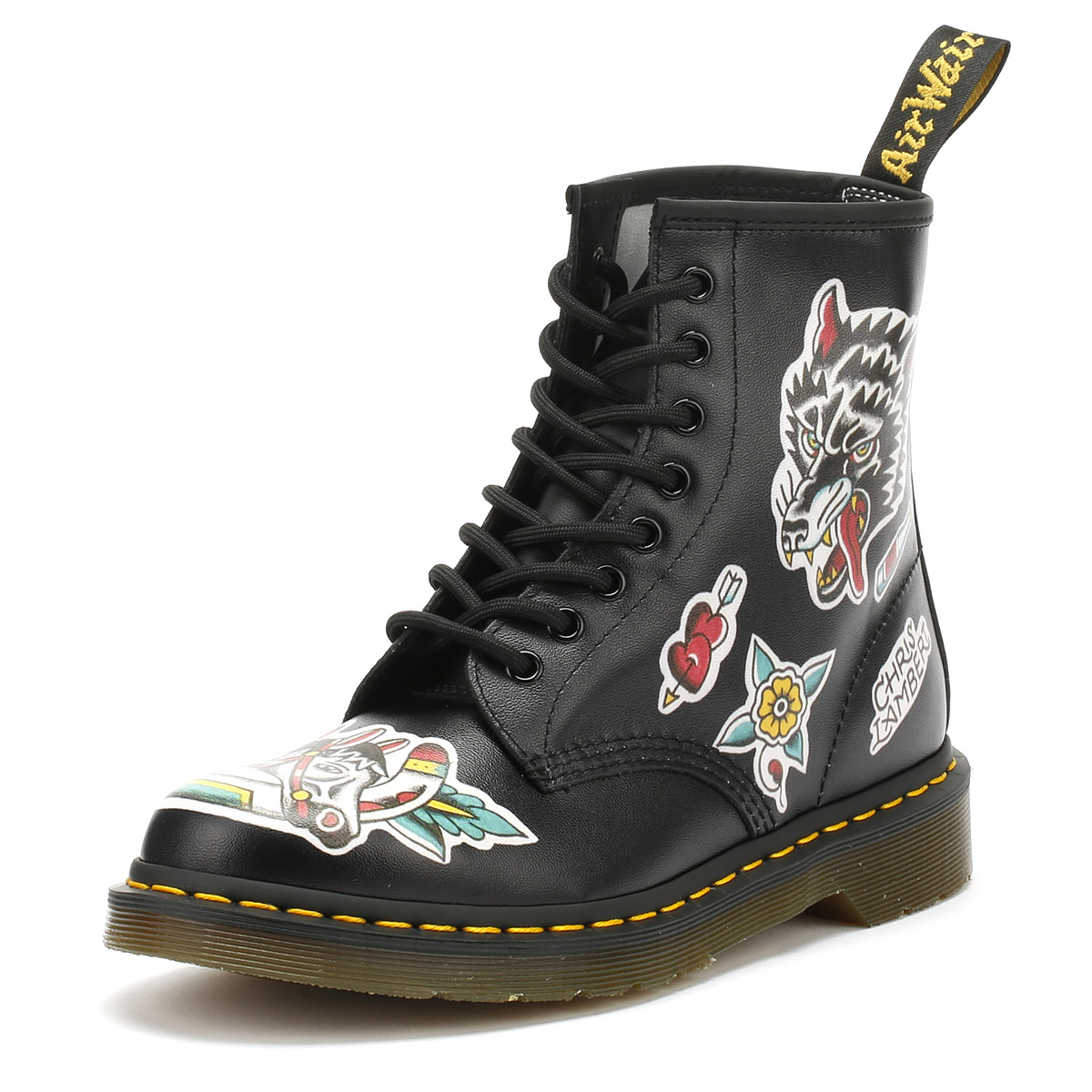 94afe0d73c Dr. Martens Womens Boots Black Backhand 1460 Chris Lambert UK Leather Shoes