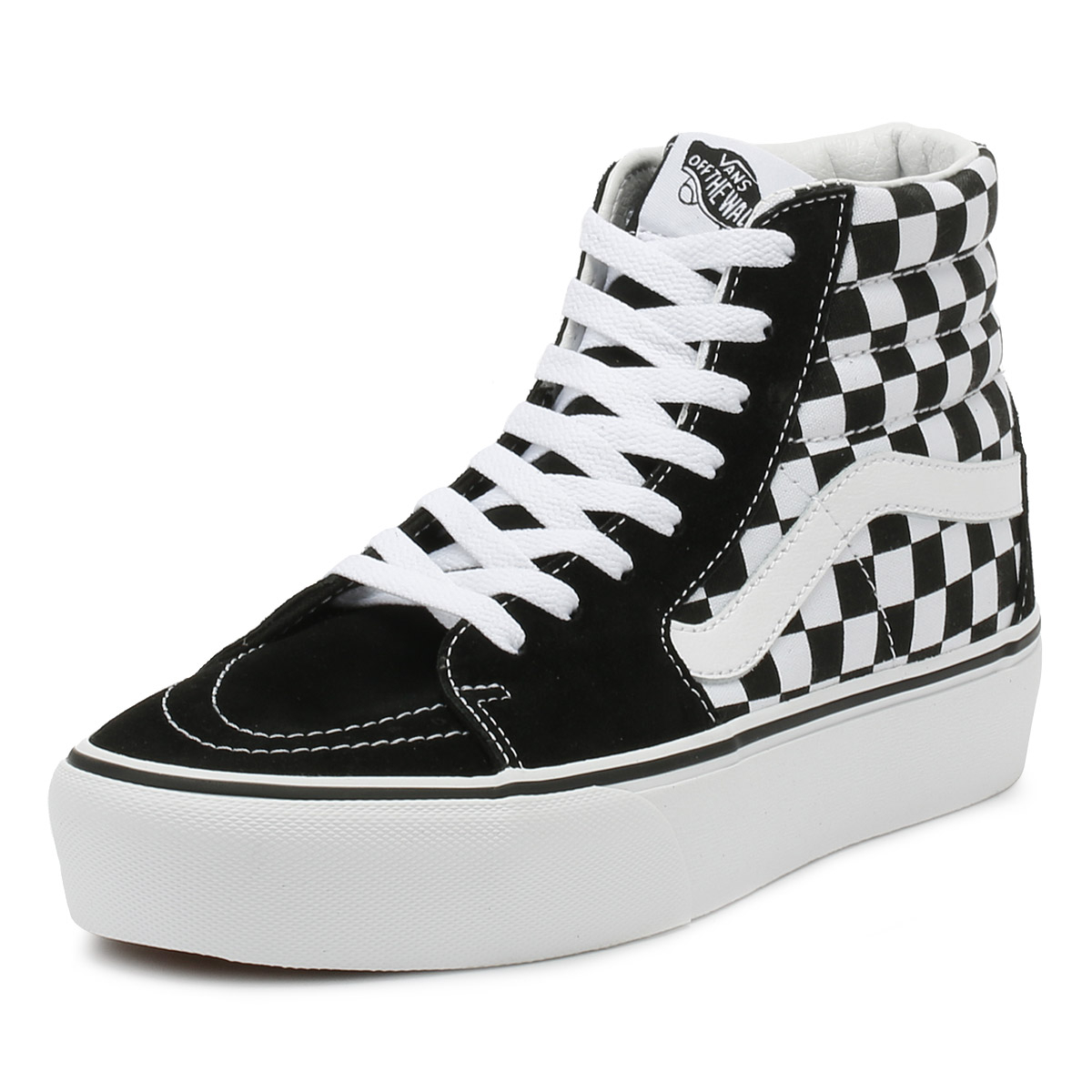 Details about Vans Womens Trainers Black   True White Checkerboard SK8-Hi  Platform Shoes 87f0dd6a7