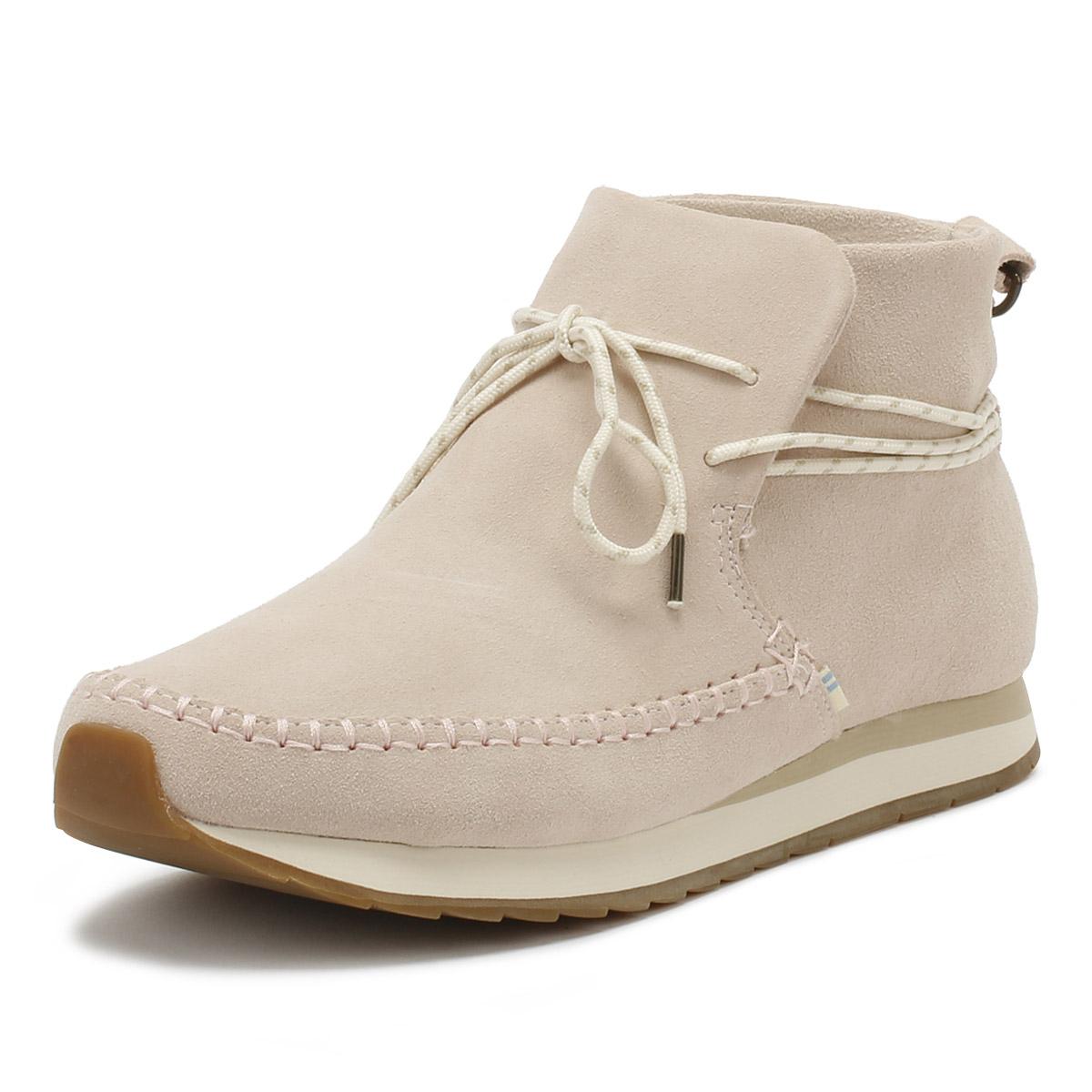 e024d21cbd1 Details about TOMS Womens Blush Pink Rio Ankle Shoes Suede Ladies Laces  Boots