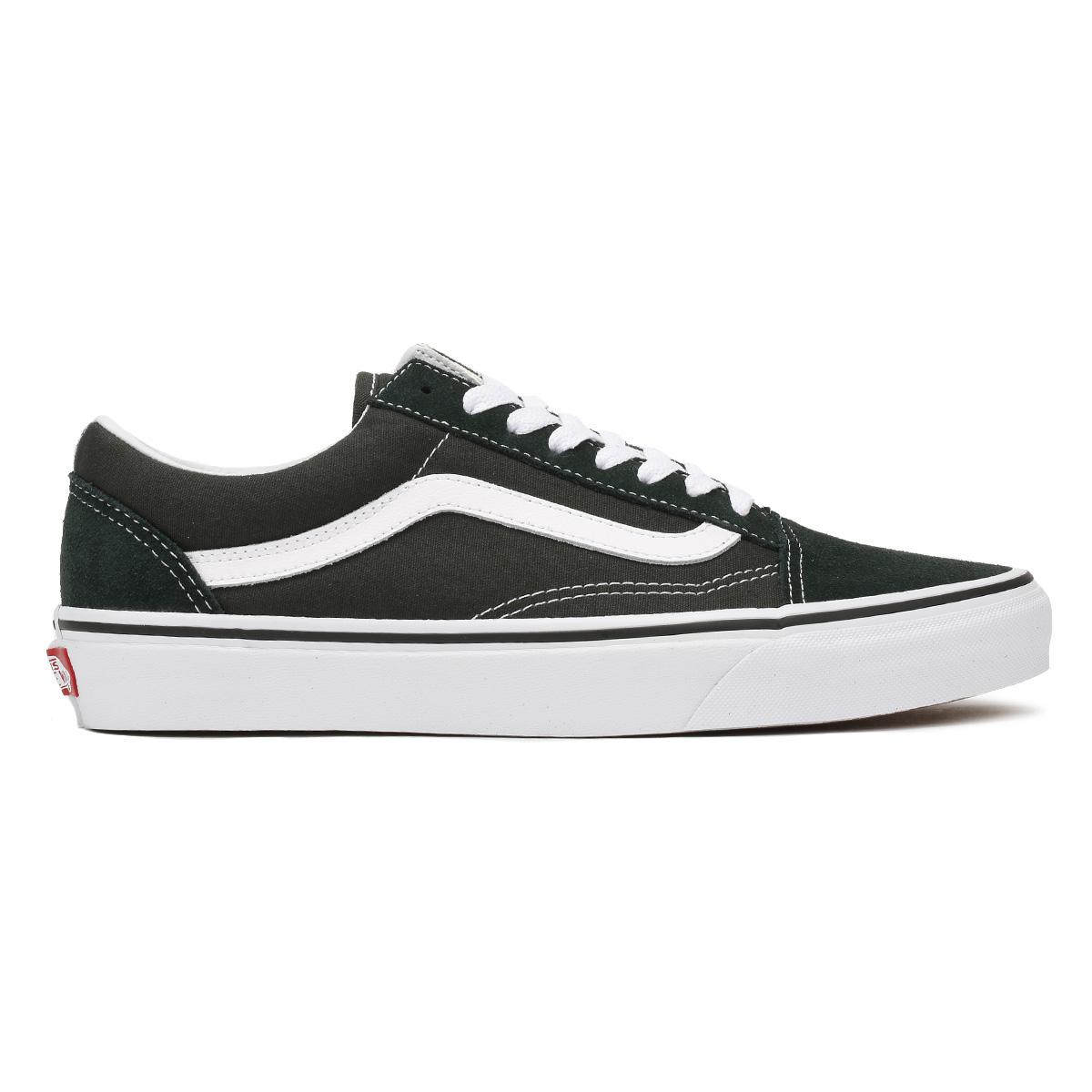 Vans-Mens-Trainers-Scarab-Green-amp-True-White-Old-Skool-Suede-Skate-Shoes