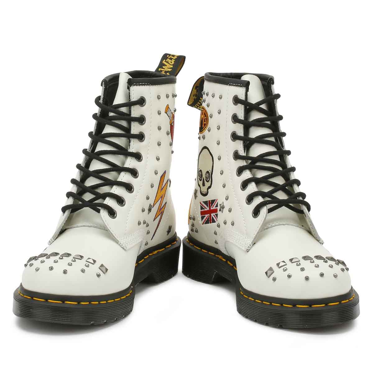 Dr. Martens Weiß 1460 Up Rockabilly Unisex Stiefel Lace Up 1460 Leder Ankle Schuhes 3adac4