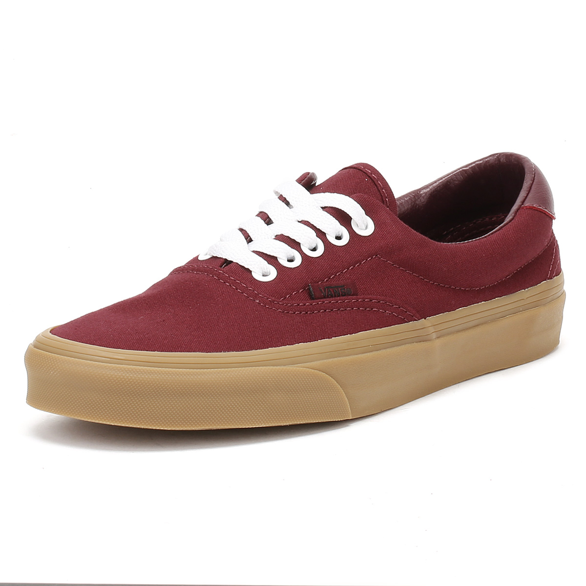 7528d13b471 Details about Vans Mens Trainers Port Royale Burgundy   Light Gum Canvas Era  59 Skate Shoes