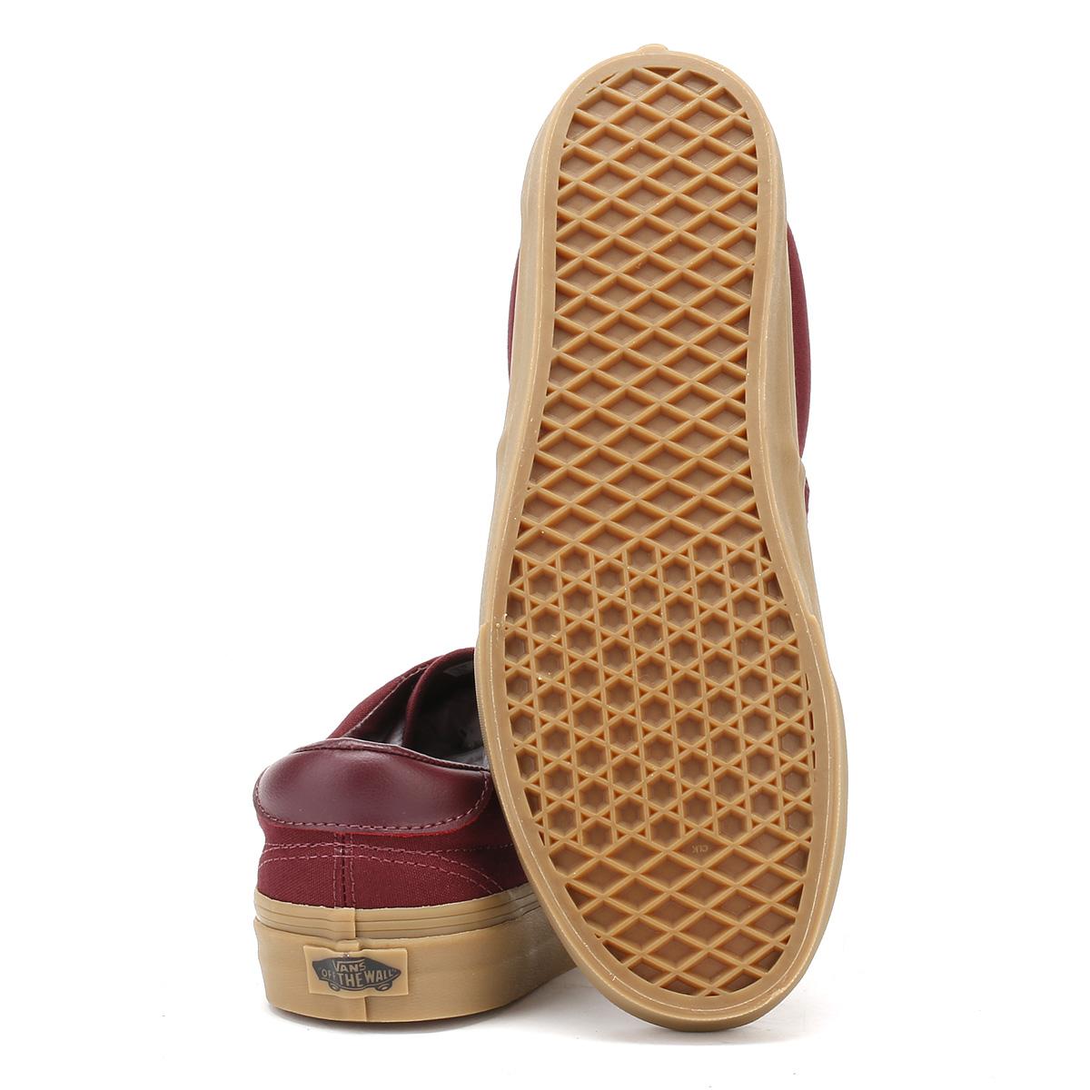 bb7ac686b14e08 Vans Mens Trainers Port Royale Burgundy   Light Gum Canvas Era 59 Skate  Shoes