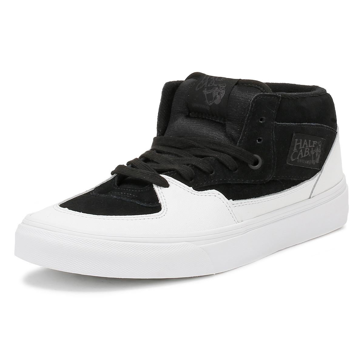 e6a10f6a9d2e Details about Vans Mens Trainers Dipped Black   True White Half Cab Lace Up  Skater Shoes