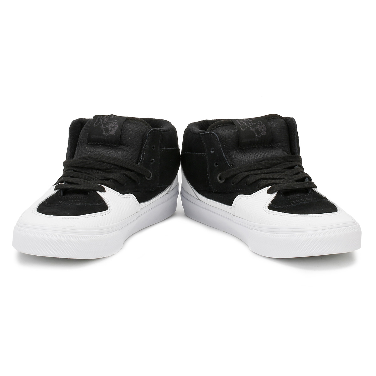 5306bedf14 Vans Mens Trainers Dipped Black   True White Half Cab Lace Up Skater Shoes