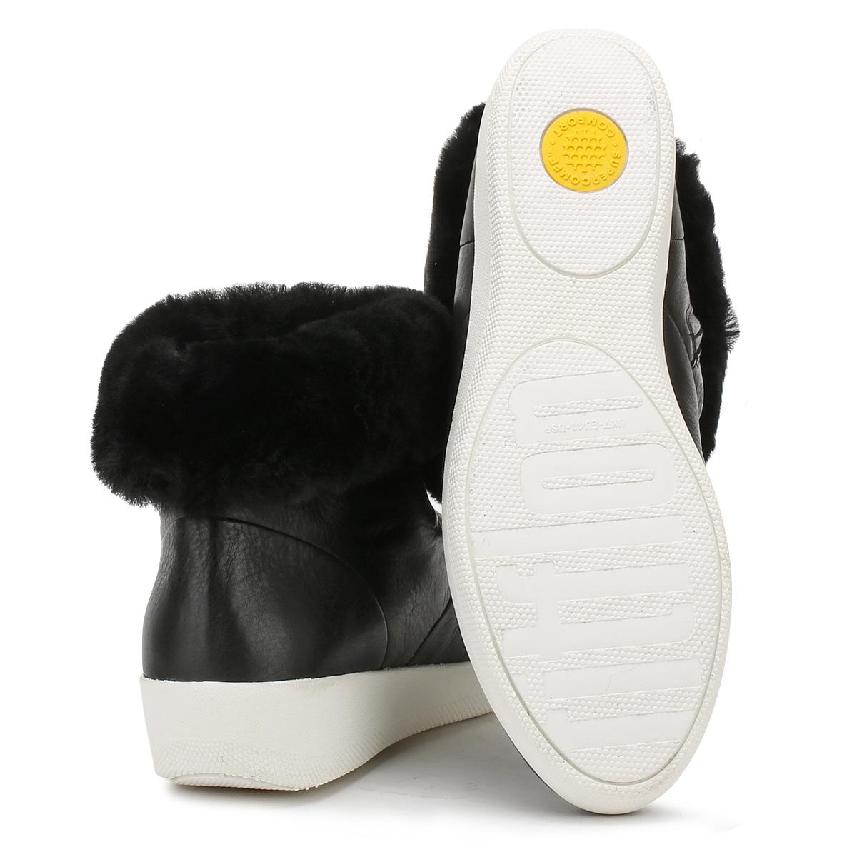 f0b65d022b62 FitFlop Skatebootie - Black Leather Womens BOOTS 6 UK
