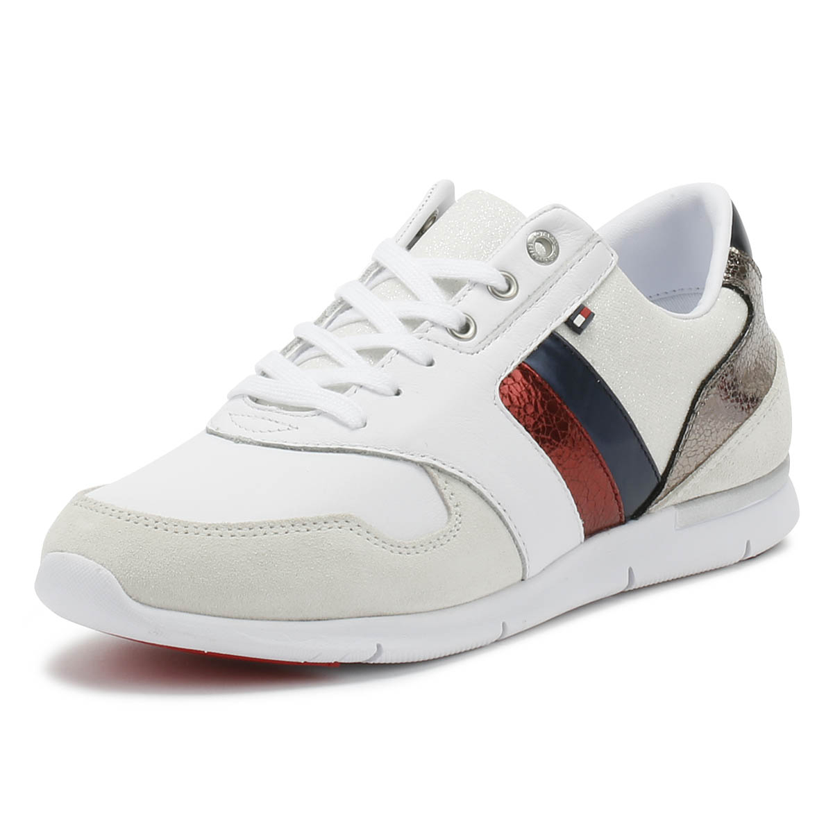 27317367f3 Details about Tommy Hilfiger Womens Trainers White Leather Light Lace Up  Sport Casual Shoes