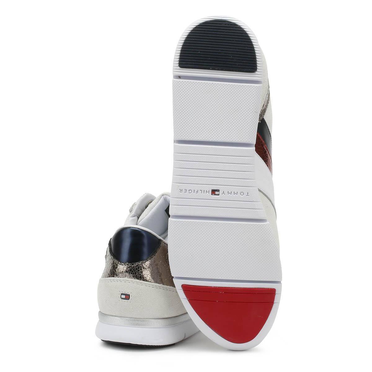 Détails sur Tommy Hilfiger Femme Baskets en Cuir Blanc Léger à Lacets Sport Chaussures De Loisirs afficher le titre d'origine
