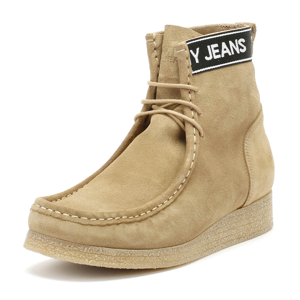 6eeff79e8 Details about Tommy Hilfiger Jeans Crepe Outsole Wallaby Mens Sand Beige  Boots