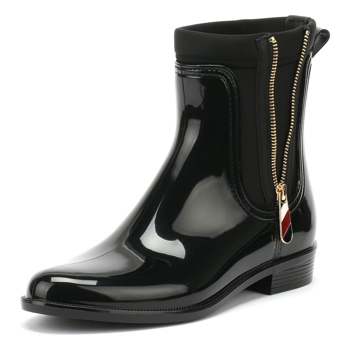 6e642a32a8468d Details about Tommy Hilfiger Womens Rain Boots Black Material Mix Zipped  Casual Ankle Shoes