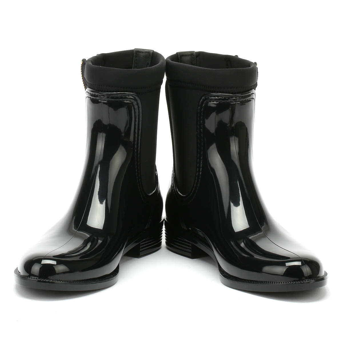 a3747322653e Tommy Hilfiger Womens Rain Boots Black Material Mix Zipped Casual ...