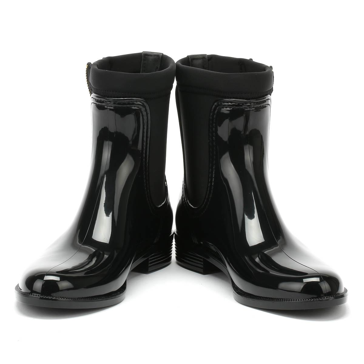 Tommy Hilfiger Womens Rain Boots Black Material Mix Zipped Casual ... c5cd7b2e65