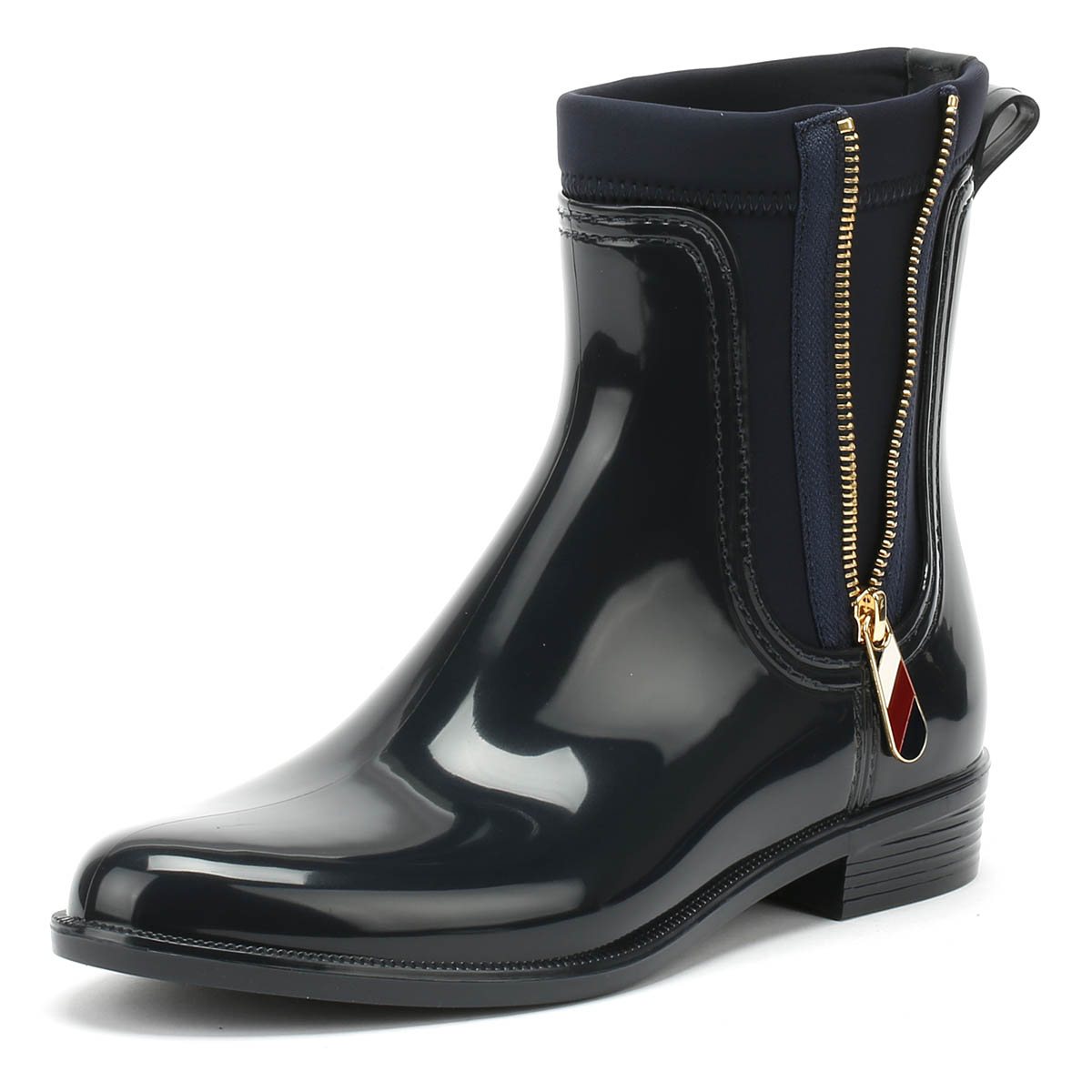 613190cce6c02c Details about Tommy Hilfiger Womens Rain Boots Midnight Navy Material Mix  Casual Ankle Shoes