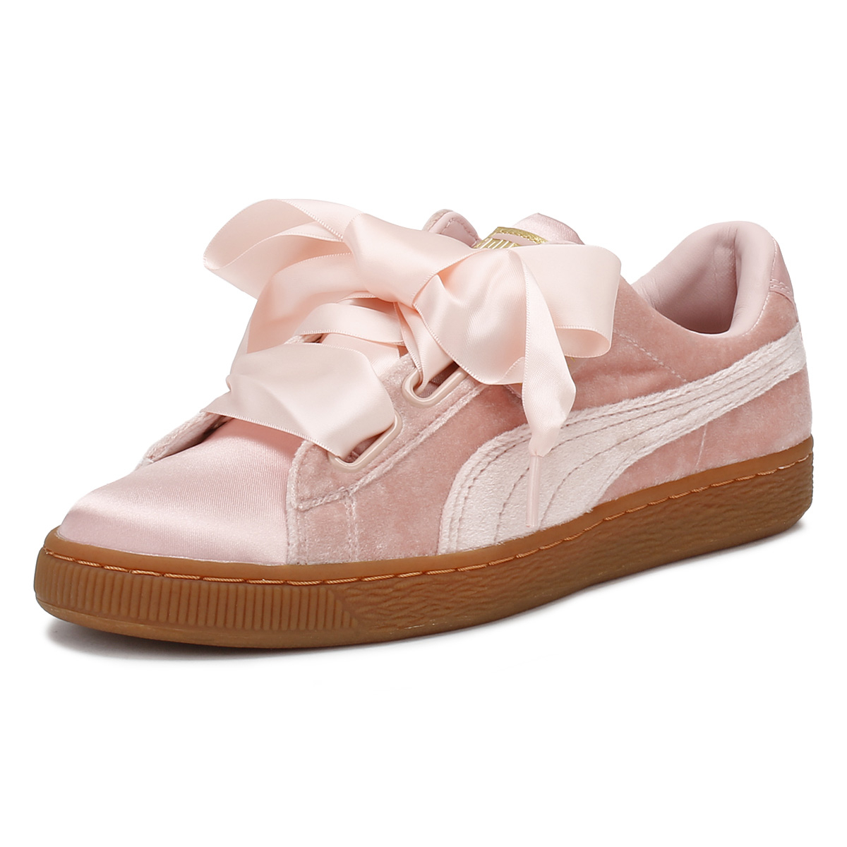 the latest f94eb d46a4 Details about PUMA Womens Pink Trainers Gum Velvet Basket Heart Sport  Casual Ladies Shoes