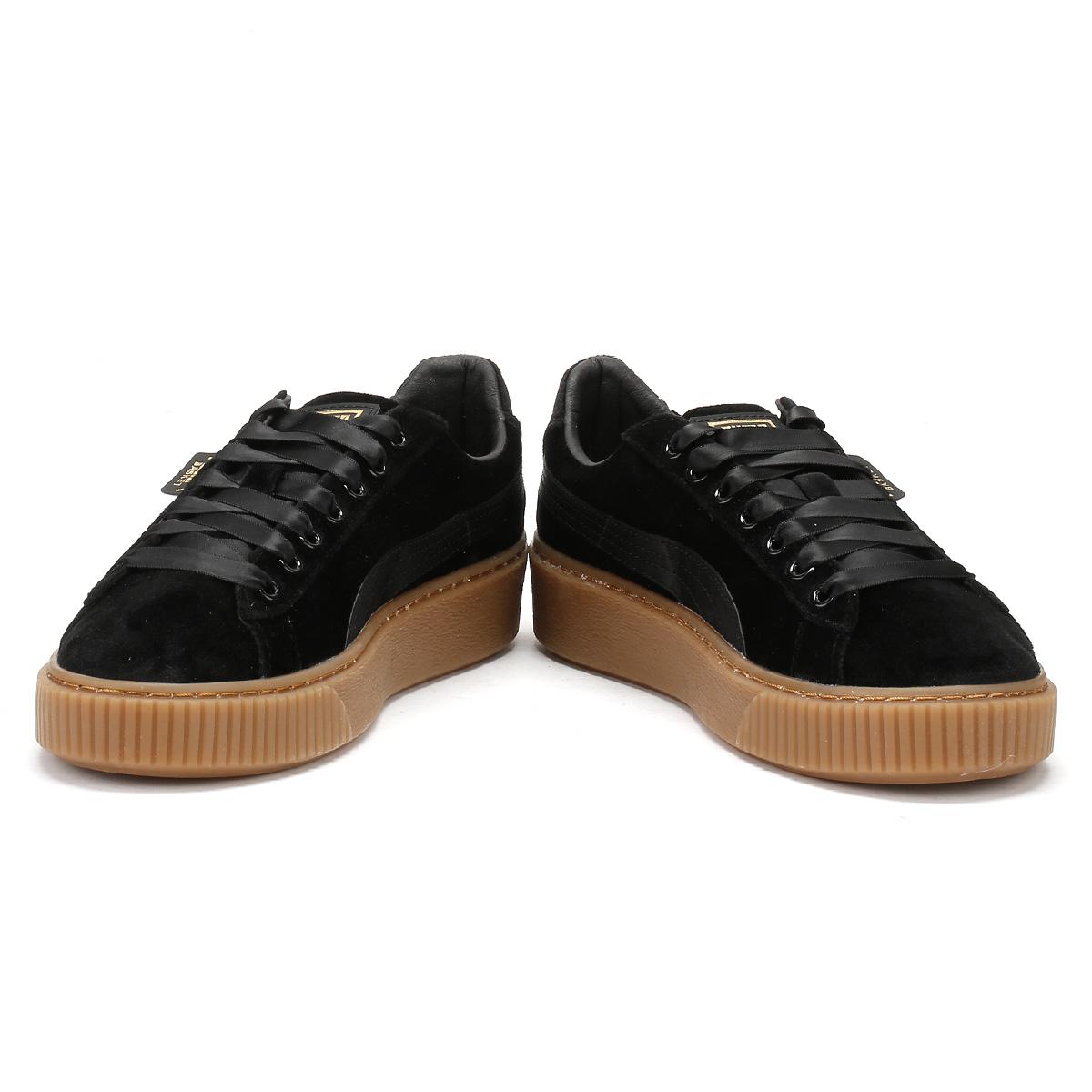 Puma donne nero nero nero formatori gomma velvet cesto piattaforma merletto signore le scarpe a622a4