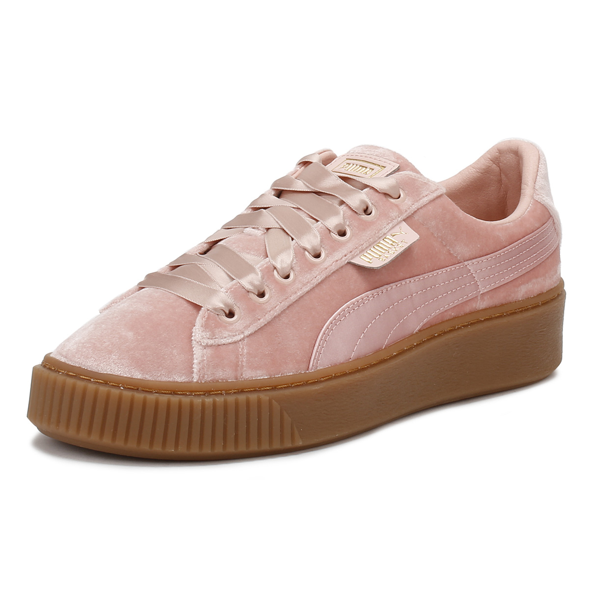 5f4c2b59bfb5 Details about PUMA Womens Pink Trainers Gum Velvet Basket Platform Lace Up  Ladies Shoes