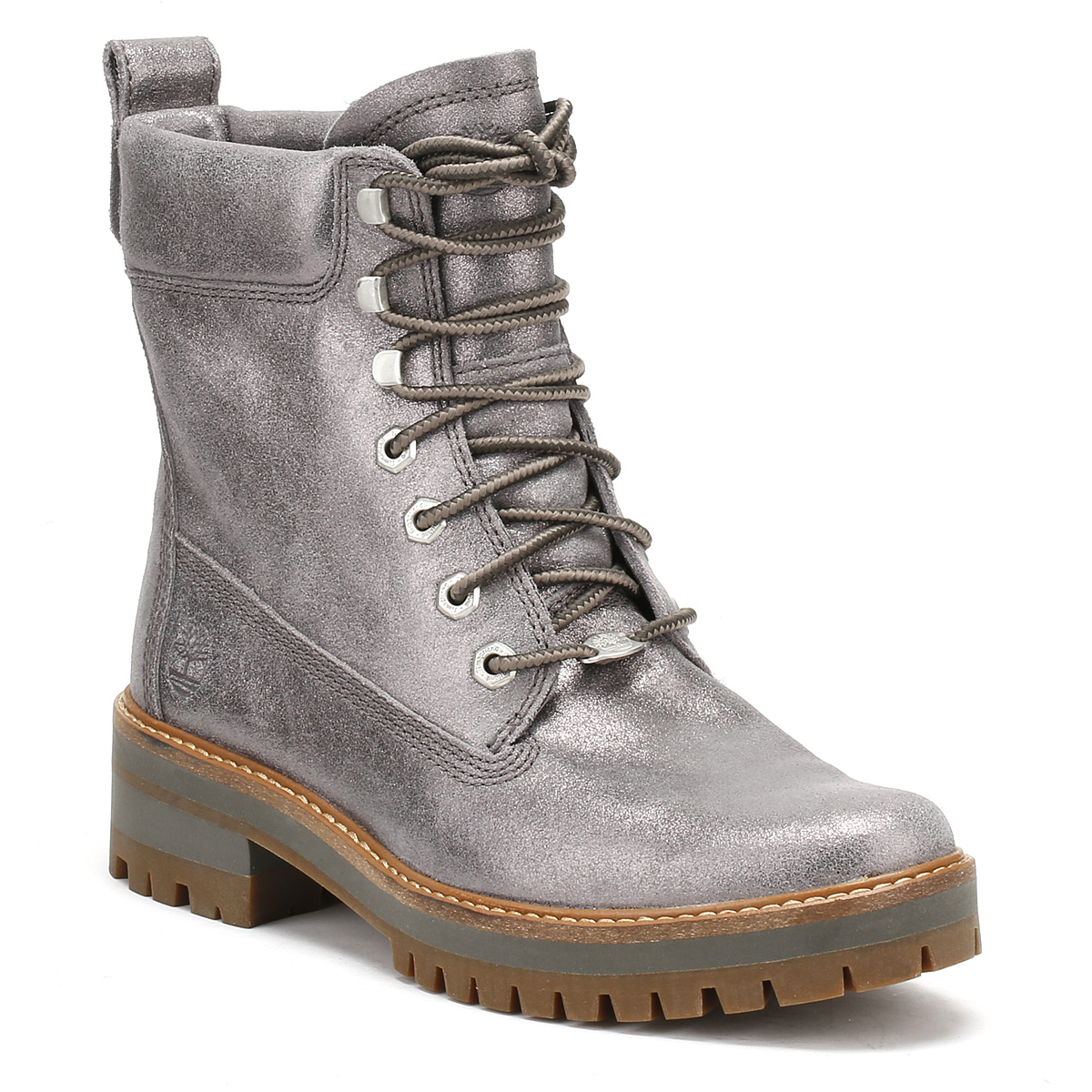 362f04996e849 Details about Timberland Womens Silver Courmayeur Valley Boots Metallic  Leather Lace Up Shoes