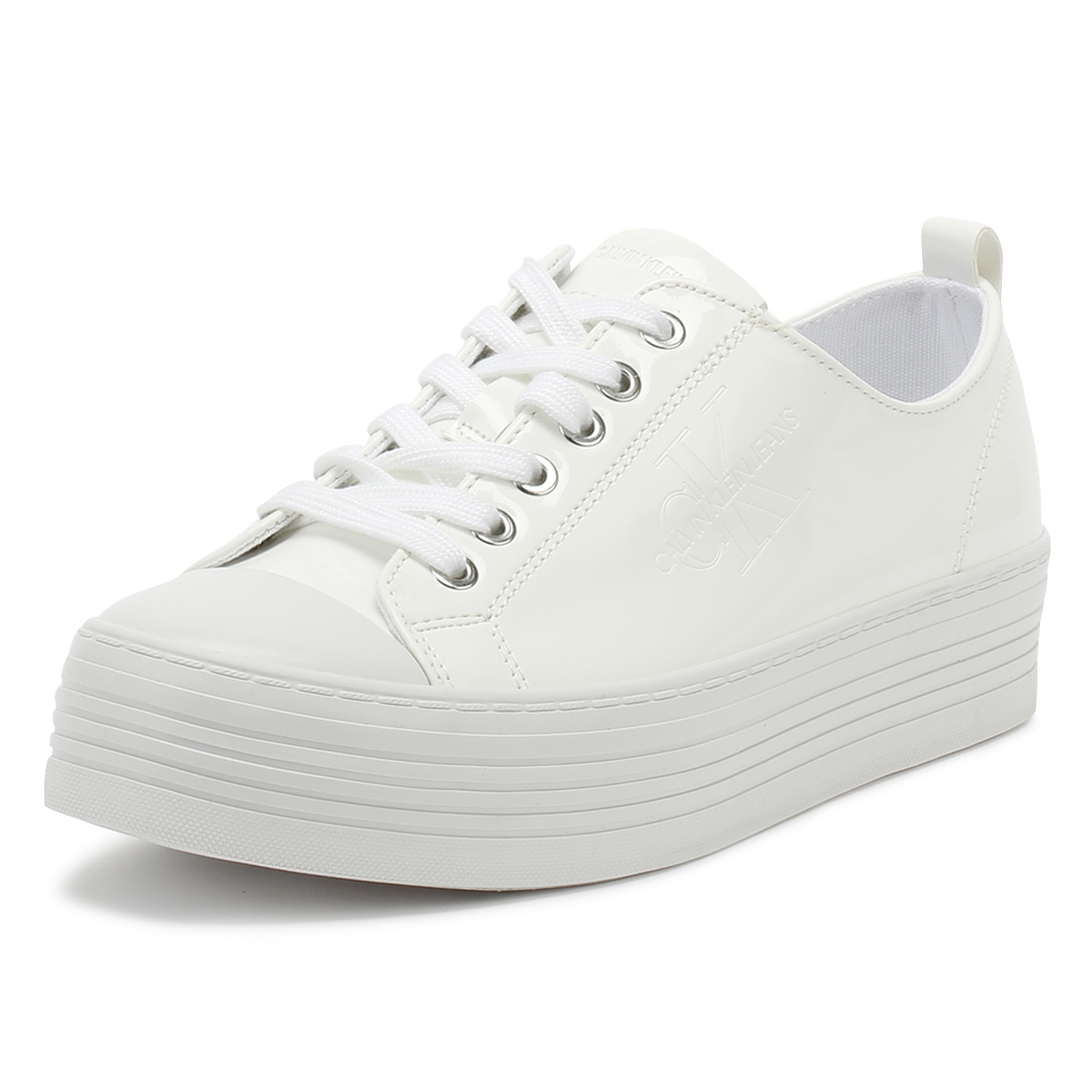 Details About Calvin Klein Jeans Womens Trainers White Zolah Patent Platform Casual Shoes Calvin Klein Zolah White Canvas Flatform Trainers Shoes
