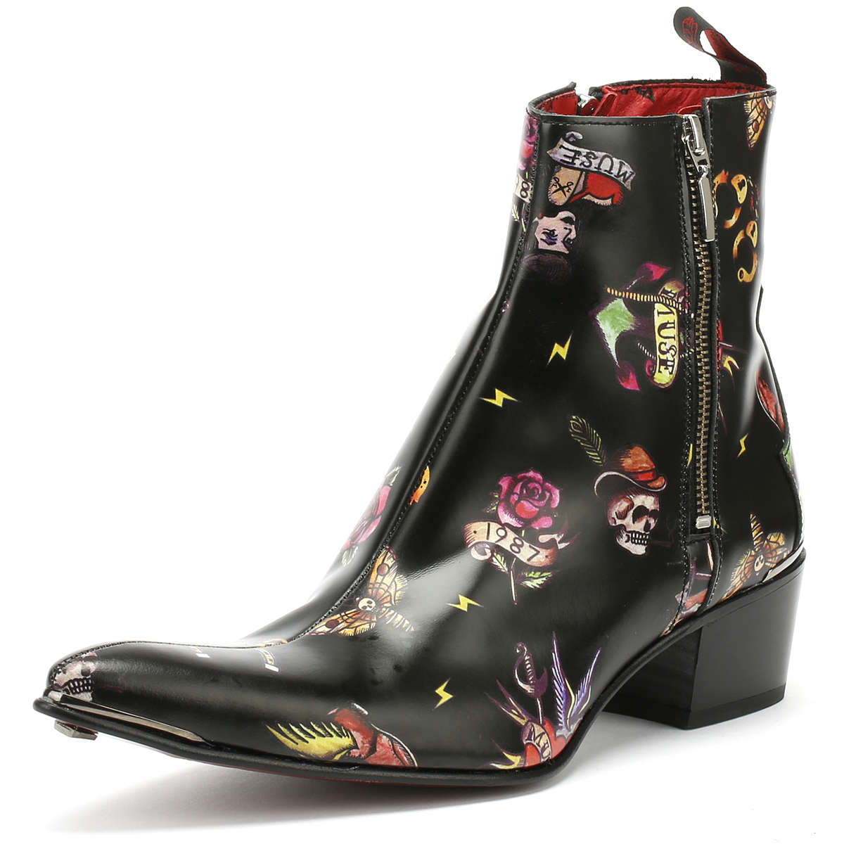 c4a814ba8a9a0e Jeffery West Mens Tattoo Black Sylvian Double Zip Boots Leather Ankle Shoes