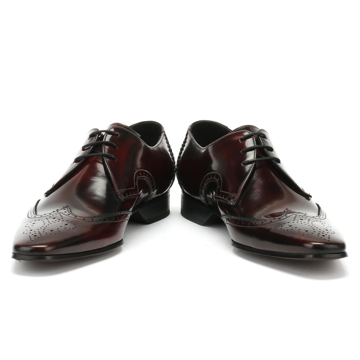 026321899e Jeffery West Mens Formal College Burgundy Escobar Brogue Derby Shoes ...