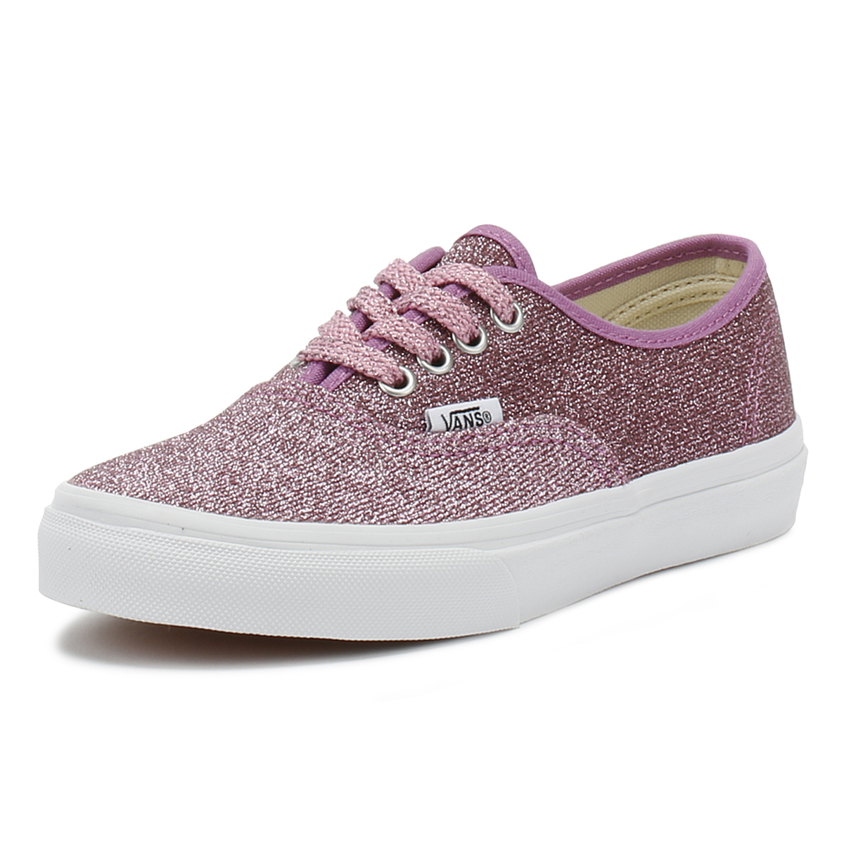 a51b1bb5785a Details about Vans Kids Lurex Glitter Pink   True White Authentic Trainers  Girls Skate Shoes