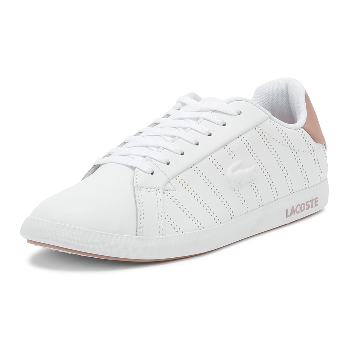 d4e4a3f97427 Details about Lacoste Womens Trainers White   Pink Graduate 318 1 Lace Up  Sport Casual Shoes
