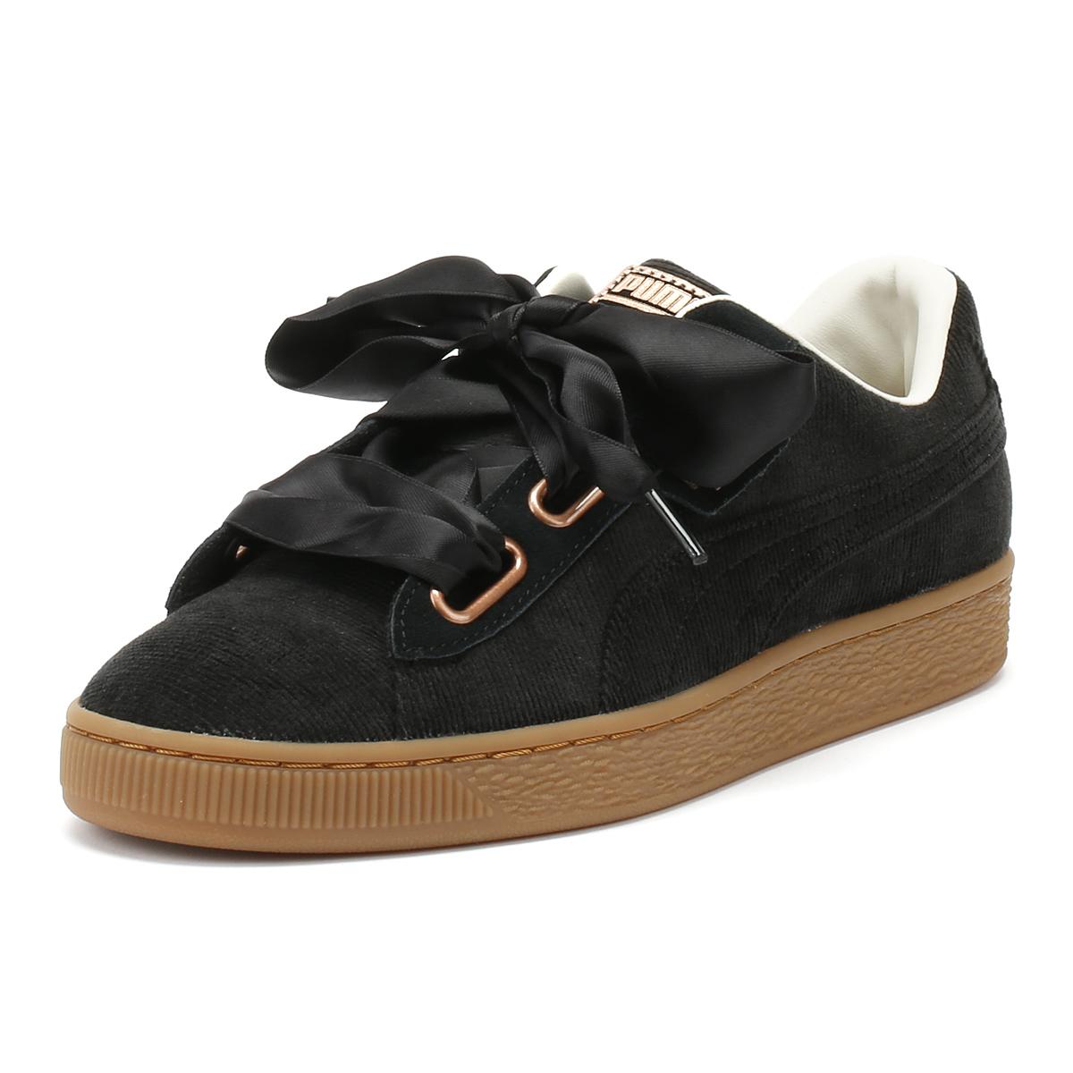 new style 88de9 e7d4a Details about PUMA Womens Trainers Black Corduroy Basket Heart Lace Up  Sport Casual Shoes