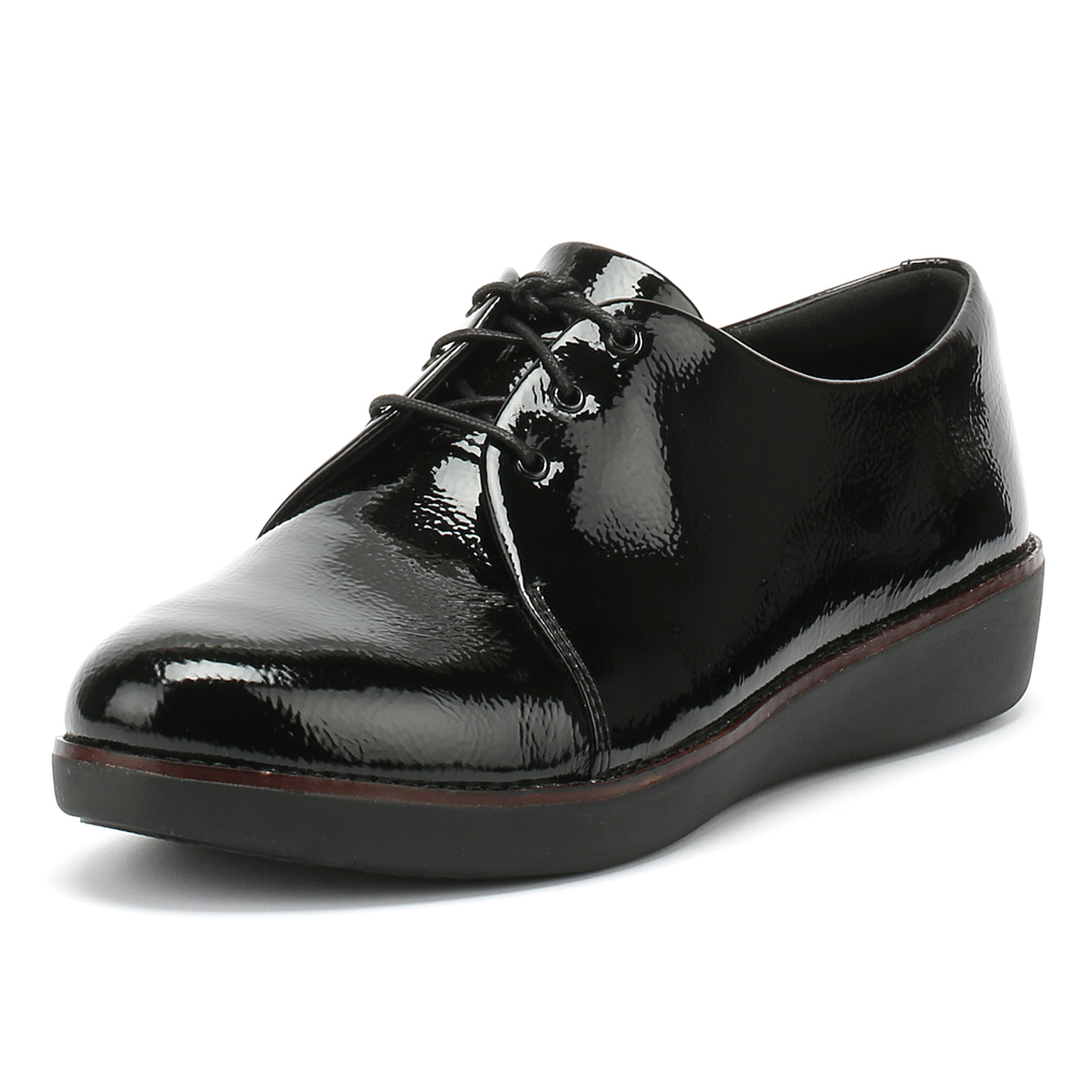 14cbb3ebcc82 Details about FitFlop Womens Black Derby Crinkle Patent Shoes Ladies Lace  Up Casual