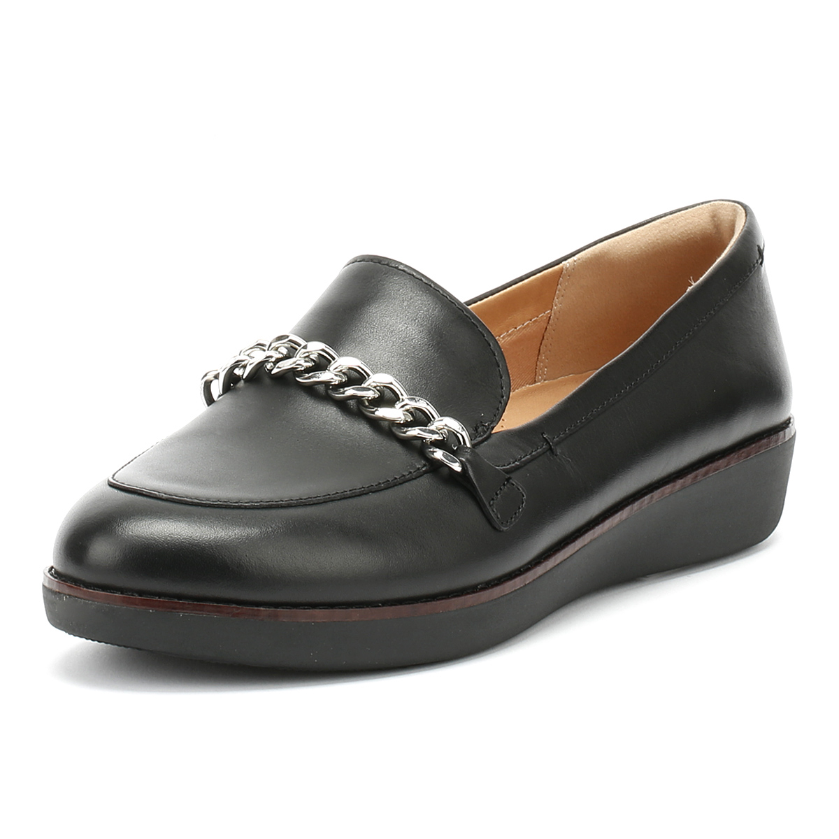 7278078681c FitFlop Womens Black Paige Chain Loafers Slip On Leather Ladies Casual Shoes