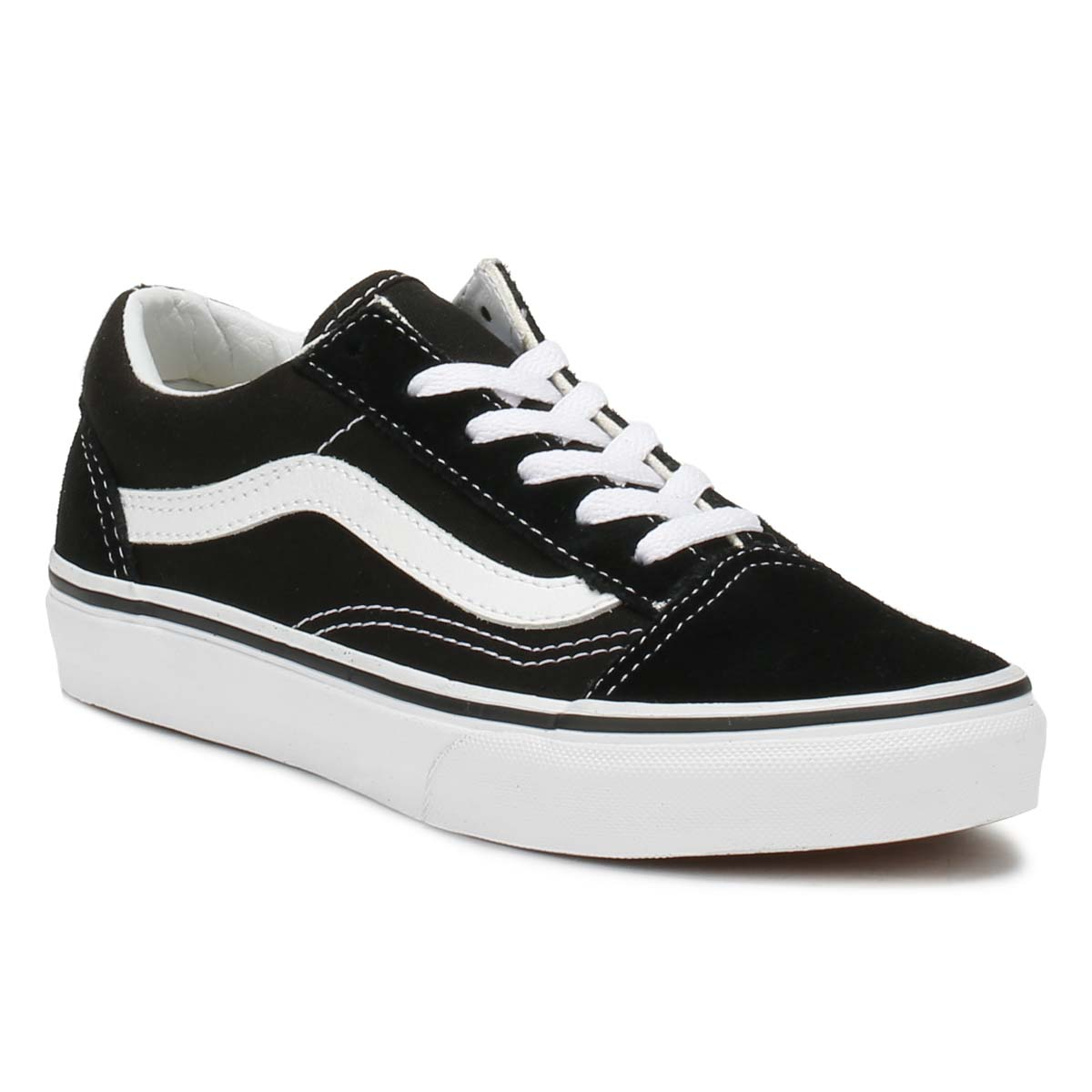 Vans-Kids-Trainers-Black-amp-True-White-Old-Skool-Lace-Up-Casual-Skate-Shoes