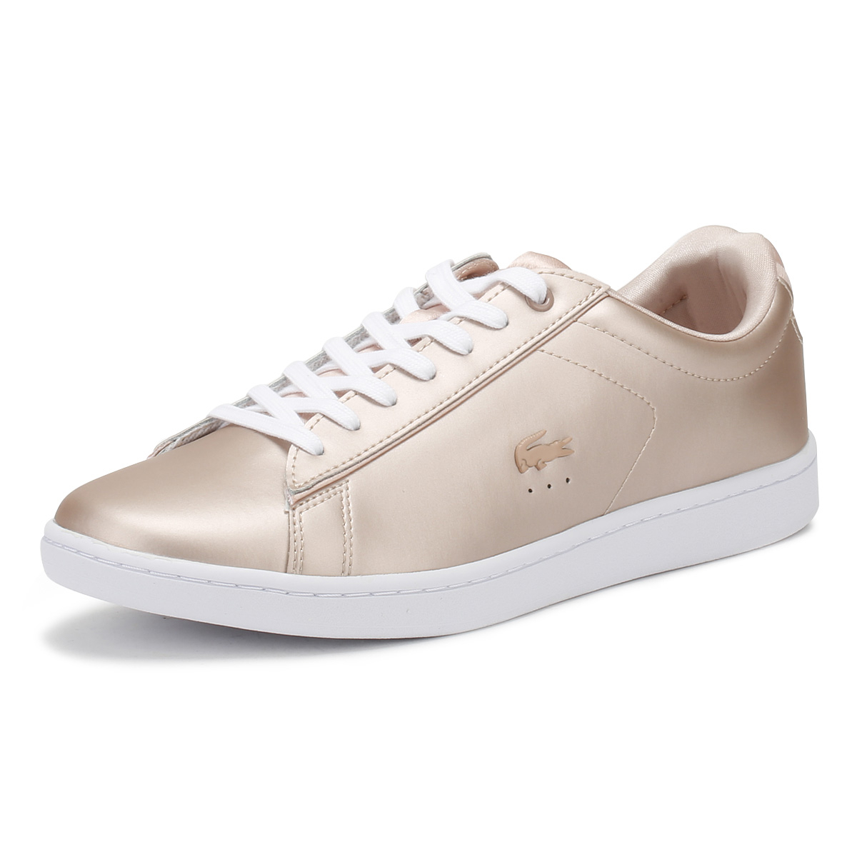 5a44bdadb Details about Lacoste Womens Trainers Natural Tan   White Carnaby EVO 118 7  Casual Shoes