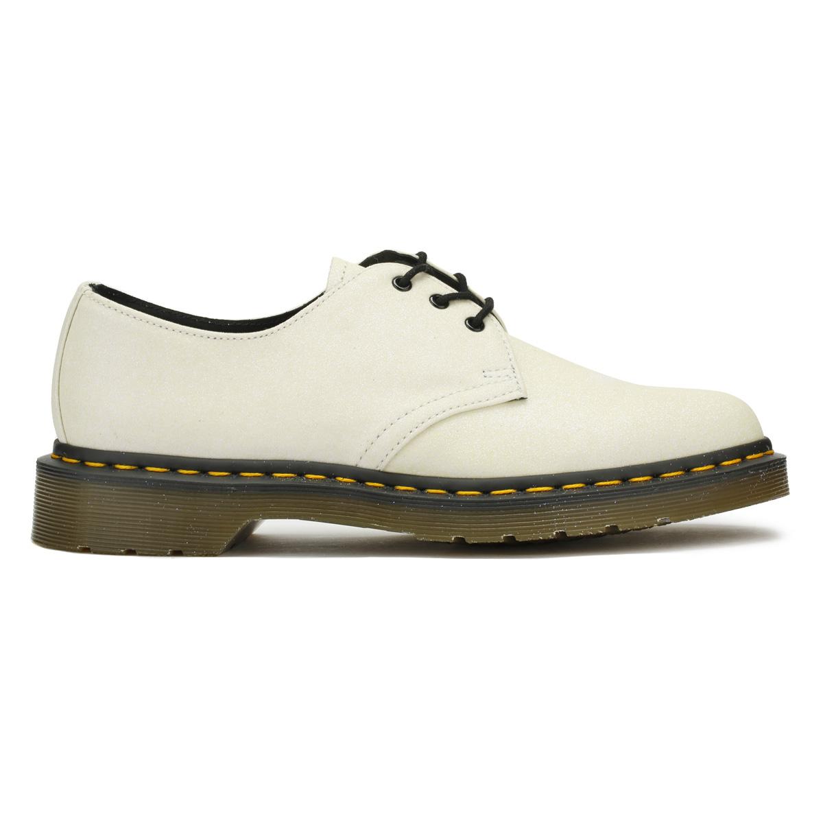 Dr. Martens mujer blanca brillo 1461 Informal Zapatos Con Cordones De De Cordones Cuero c6b178