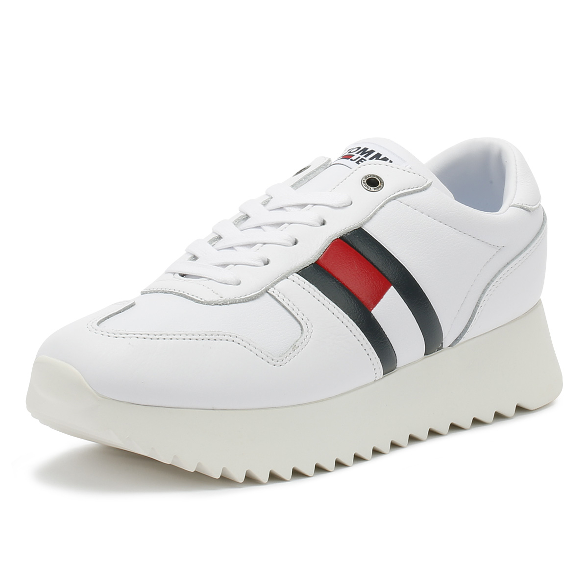 6fa183543 Details about Tommy Hilfiger Womens Trainers White High Cleated Lace Up  Sport Casual Shoes