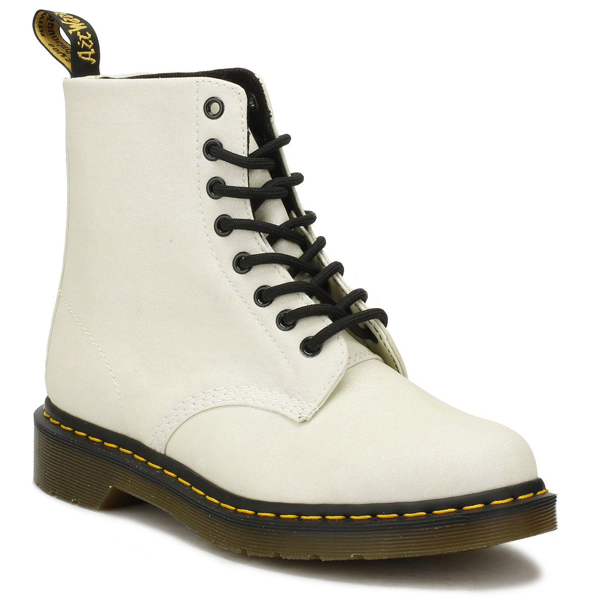 6092ebb74a Dr. Martens Womens White Glitter Pascal Boots Lace Up Leather Winter Shoes