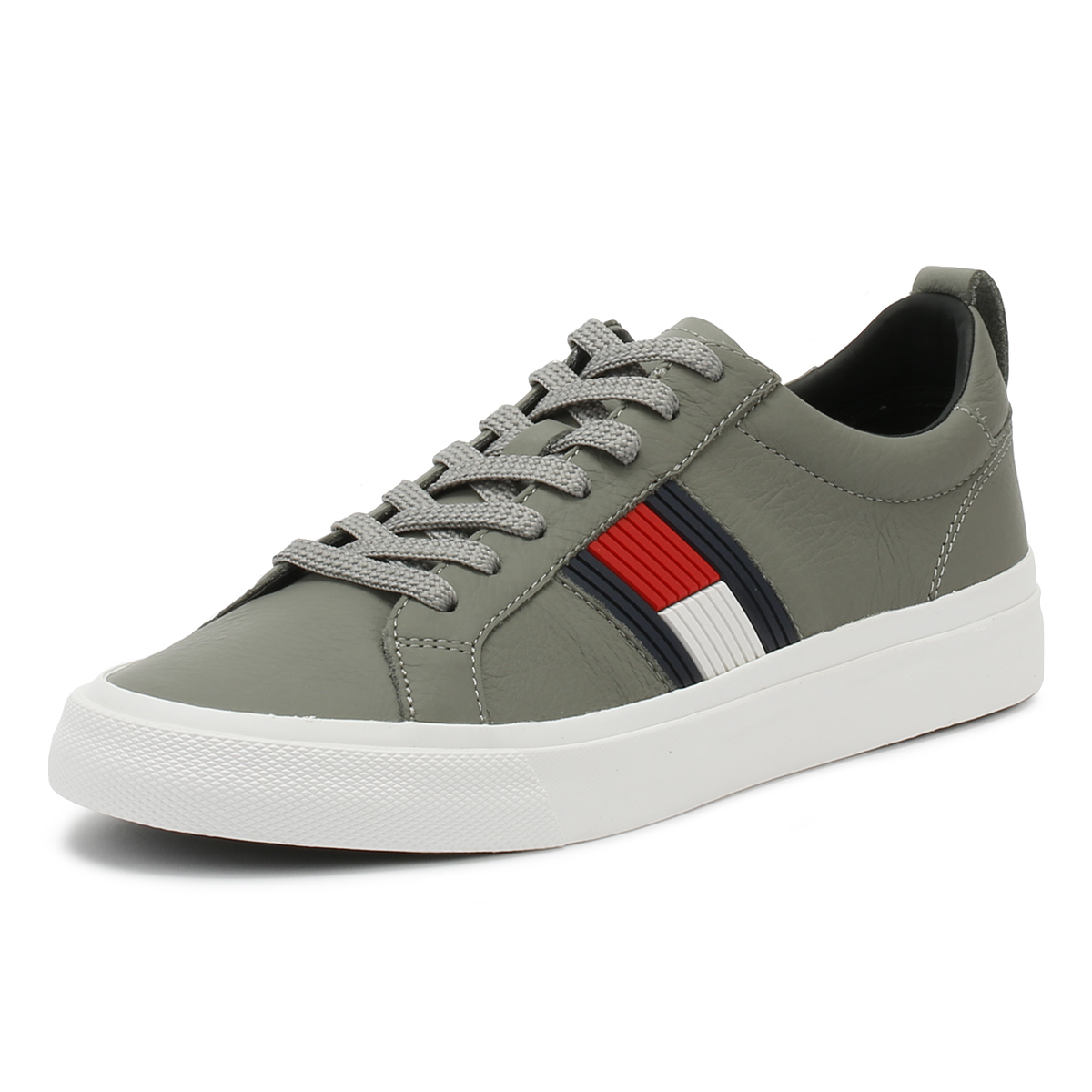 Tommy Hilfiger Mens Trainers Light Grey Flag Detail Sport Casual Shoes 7575e69bc18