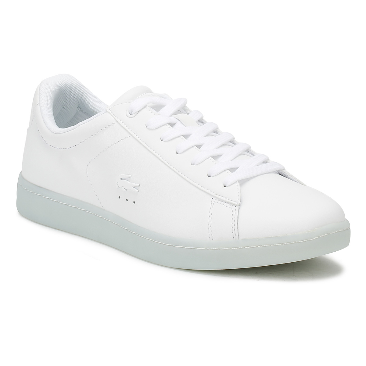 59570b57b Lacoste Womens Trainers White   Light Blue Carnaby EVO 118 3 Casual Shoes