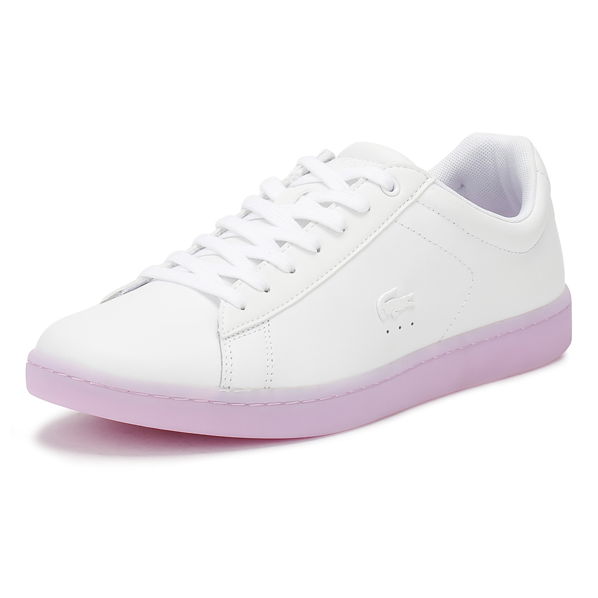 b18c723b3 Lacoste Womens Trainers White   Light Purple Carnaby EVO 118 3 Casual Shoes