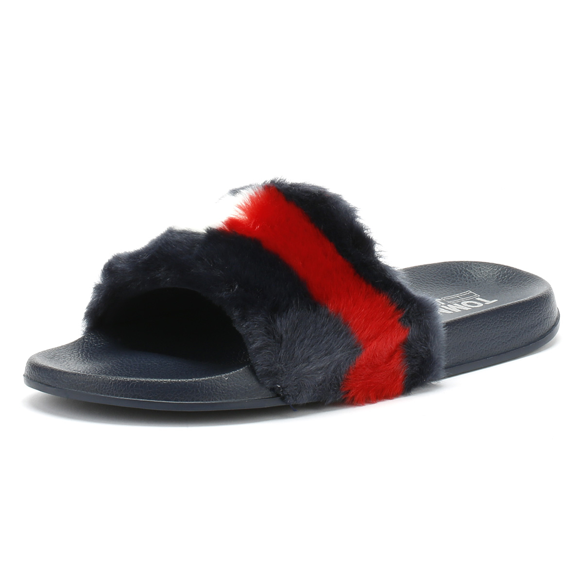 a25f38eaaf2f8 Details about Tommy Hilfiger Womens Midnight Navy Funny Fur Pool Slides  Summer Beach Sandals