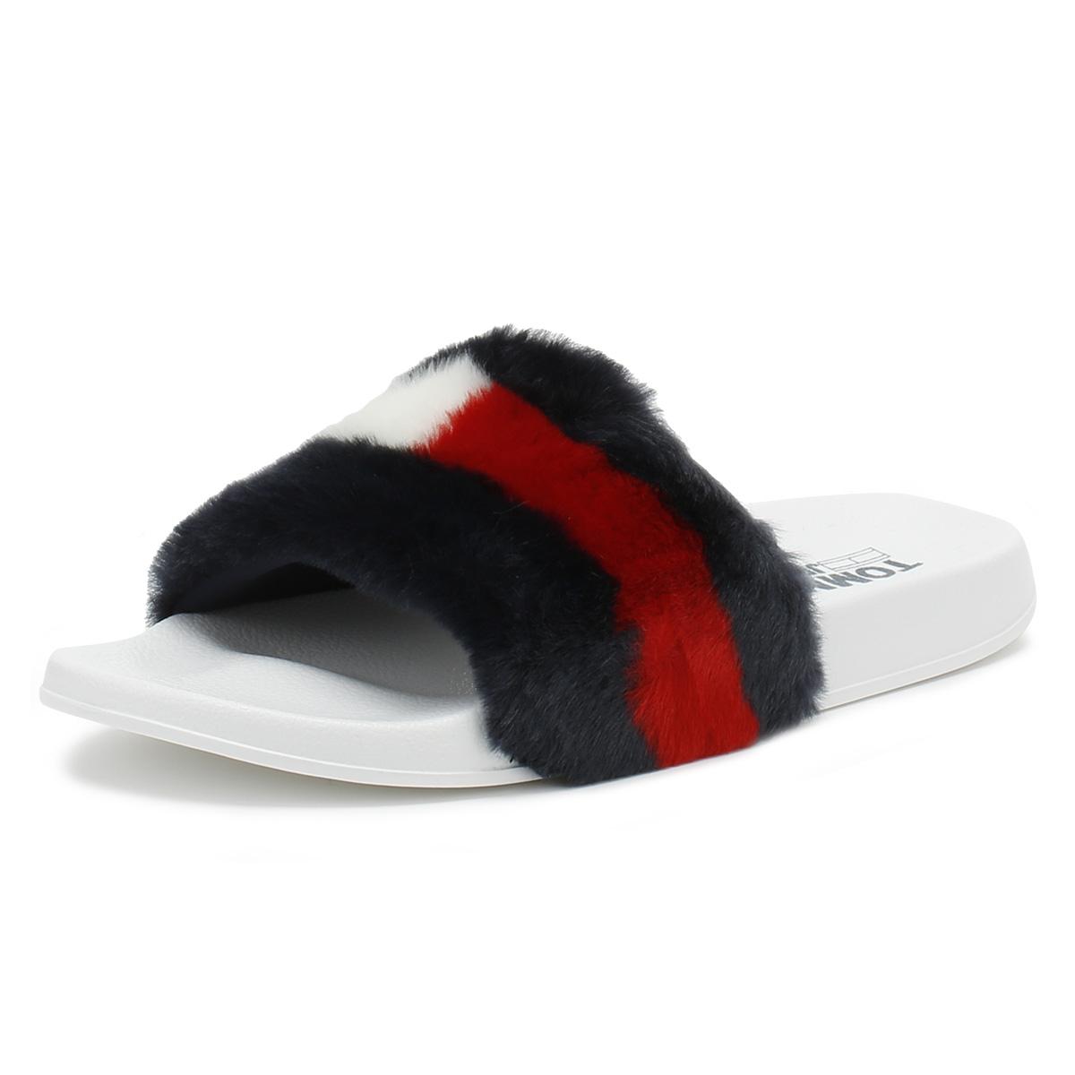 806f1d42f84 Details about Tommy Hilfiger Womens RWB Funny Fur Pool Slides Ladies Summer  Beach Sandals