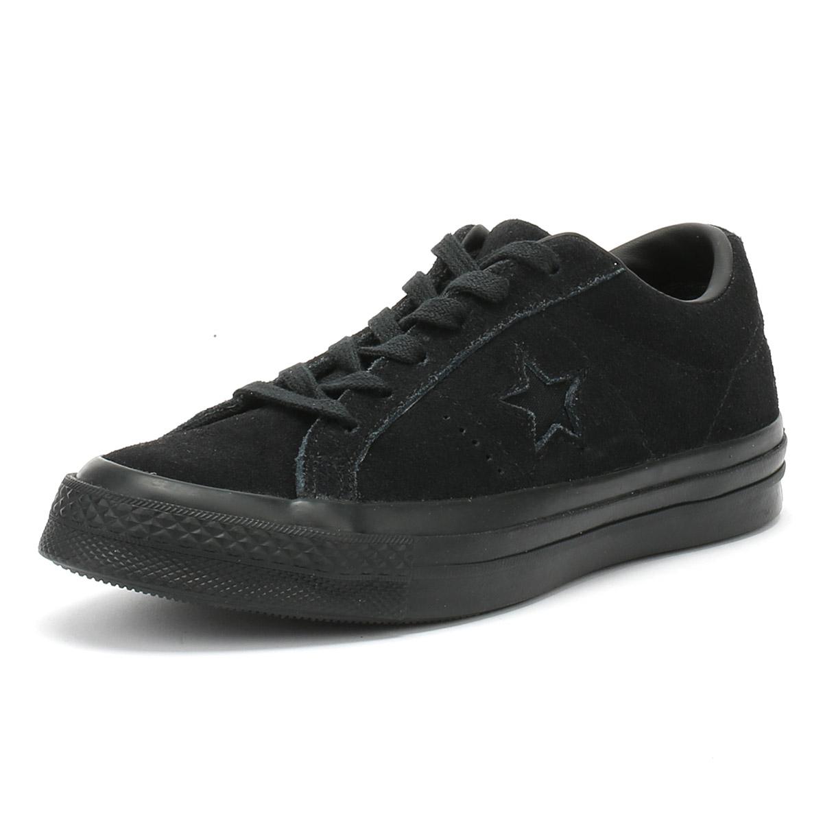 2e96c970d75 Converse One Star Junior Ox Baskets Noir Vintage en Daim Enfants ...